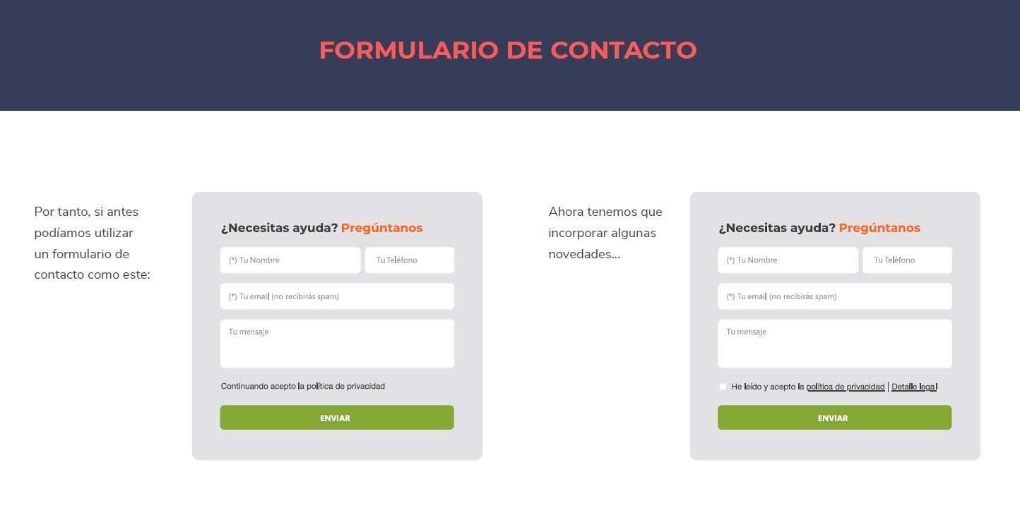 Formulario de contacto RGPD