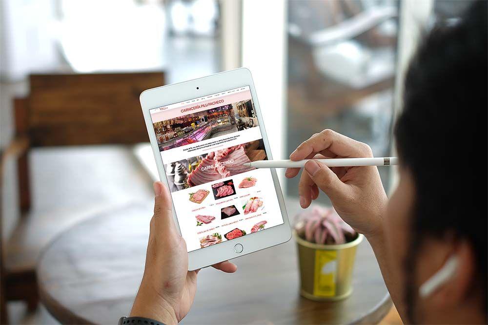 Diseño web Onepage Carnicería Pilu Pacheco iPad
