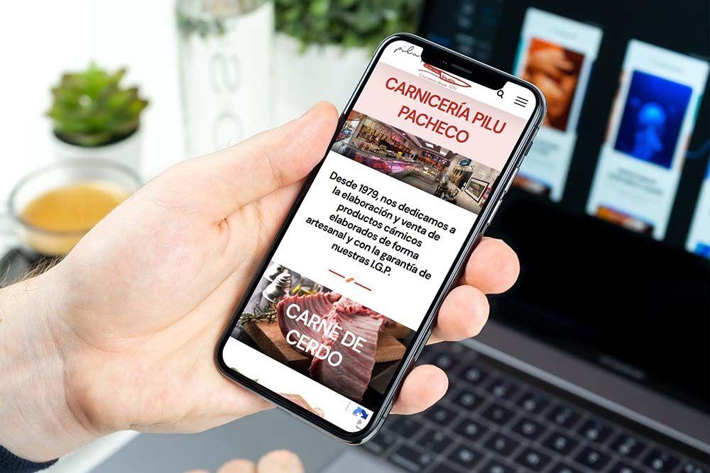 Diseño web Onepage Carnicería Pilu Pacheco iPhone