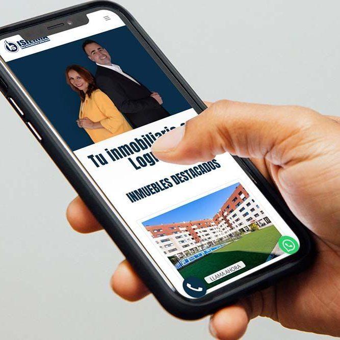 Diseño Multisitio web Inmobiliaria ISIERRA iPhone