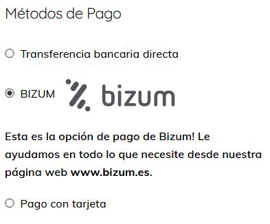 Métodos de PAgo con Bizum