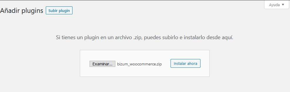 Añadir Plugin Bizum Woocommerce