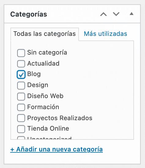 selección categoría