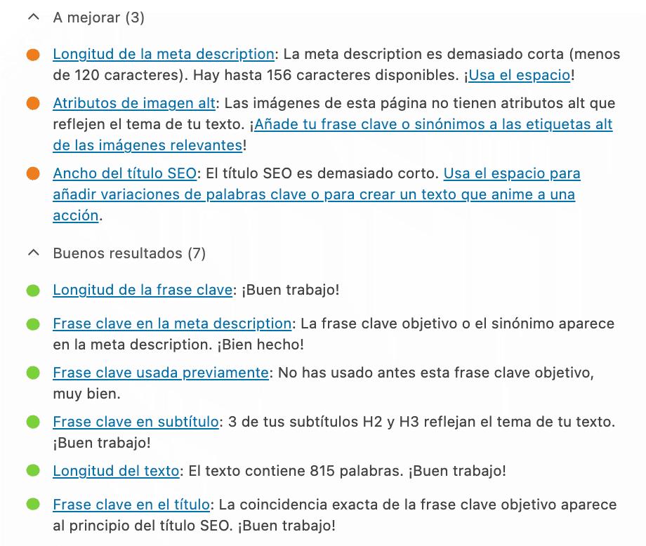 reporte sugerencias seo