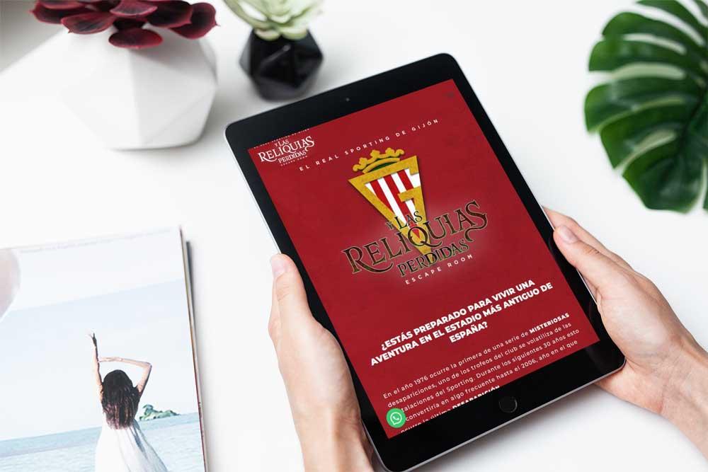 Diseño página web Escape Room Sporting de Gijón iPad