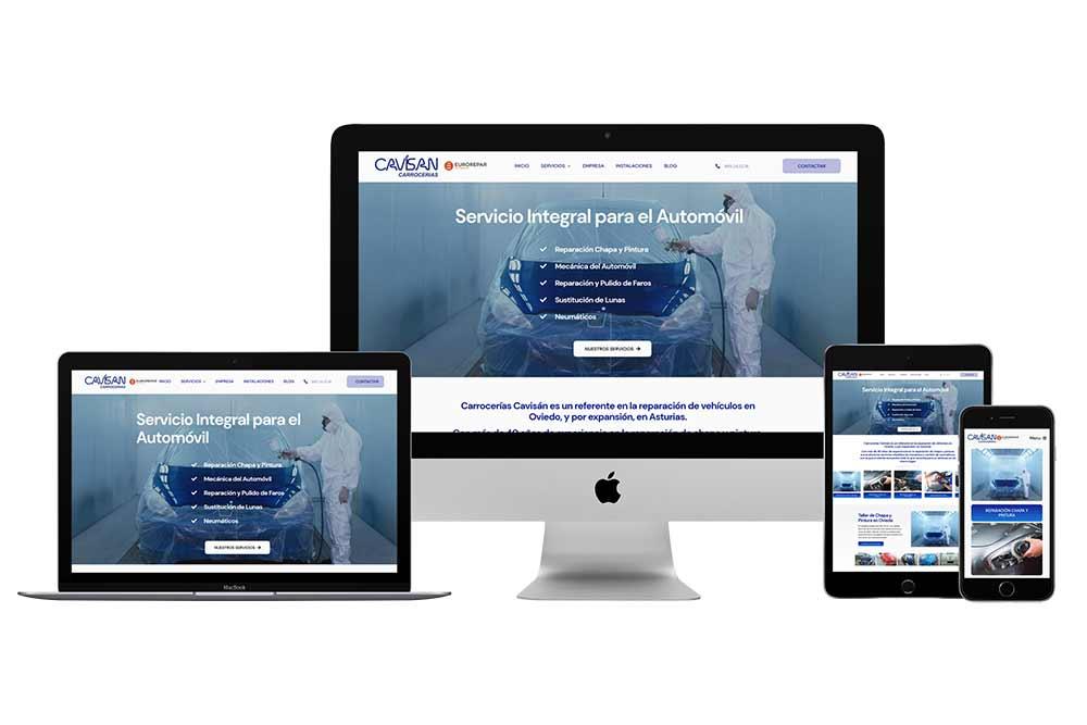 Diseño web Talleres Cavisan Onepage Responsive