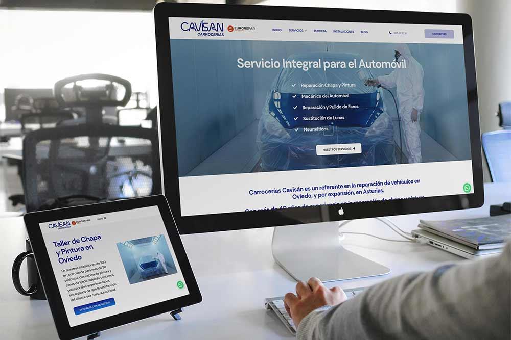 Diseño web Talleres Cavisan Onepage iMac