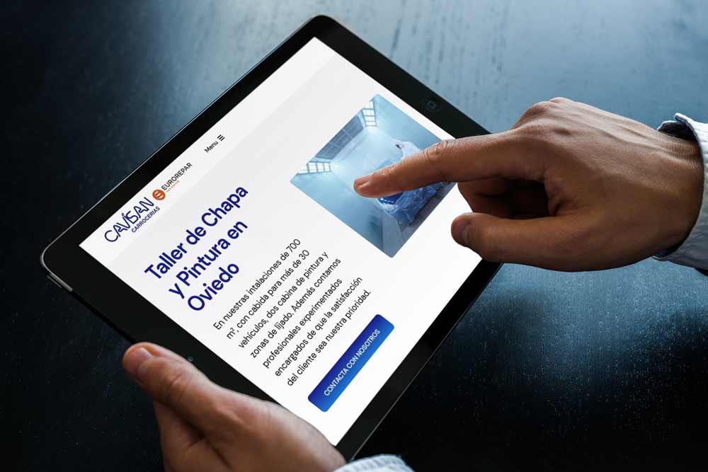 Diseño web Talleres Cavisan Onepage iPad