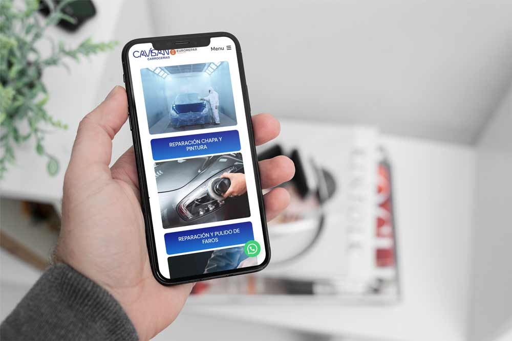 Diseño web Talleres Cavisan Onepage iPhone